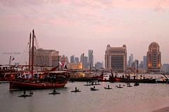 Inspired by Past (Samrah10) Tags: skyline skyscraper landscape cityscape gulf towers middleeast development doha qatar dhow katara stregis cityline igersdoha inspiredbypast