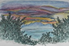 Sunrise over Messinian Gulf Watercolour small (Gregelope) Tags: