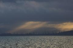 Jirafas de mar (SantiMB.Photos) Tags: barcelona sea espaa geotagged mar mediterranean cranes cielo nubes tamron 18200 esp mediterrneo gruas cataluna bogatellbeach 2tumblr geo:lat=4128812620 vacaciones2012 2blogger geo:lon=229064941