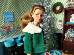 (12) Christmas at the Bakery (Foxy Belle) Tags: wood holiday green scale cookies cake shop misty vintage wrapping paper fur restaurant miniature doll elizabeth play counter floor witch ooak hard stevens barbie velvet suit bakery pies 16 samantha collar rement diorama dollhouse christamas bewitched montgomary
