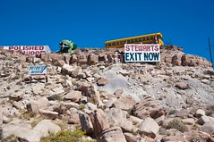 Exit NOW! (pam's pics-) Tags: road trip arizona southwest bus route66 dinosaur az kitsch roadside schoolbus roadsideattraction i40 schlock petrifiedwood holbrookarizona stewarts themotherroad pammorris pamspics petrfiedforest nikond5000
