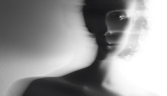 Take Me Away (Zoe Sarjant) Tags: shadow portrait white selfportrait black silhouette nude lights long exposure trails double pale ghostly greyscale collarbones