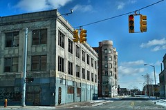The Light Above (TooLoose-LeTrek) Tags: street blue sky building trafficlight traffic decay detroit abandon hopper gx7