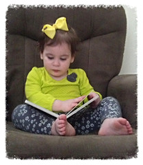 Mickenzy Reading 04-29-14 (MelenaMe) Tags: girl reading book chair toddler sitting child bow