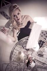 Time to play (SofiaVinova) Tags: roses game clock cup girl rose lady cards nice play dress tea alice card blond blonde blackdress