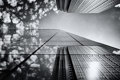 My Mirror sees in Mono (c. Melon Images) Tags: street city windows summer sky urban bw detail reflection philadelphia glass lines architecture clouds contrast mono fuji shapes structure flare philly 2014 23mm vsco lr5 x100s