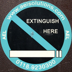 Extinguish here (chrisinplymouth) Tags: uk england sign warning circle cigarette plymouth devon round squaredcircle squircle nosmoking circular ael forbidding cw69x chrisinplymouth extinguishhere