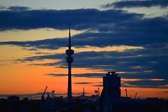 Munich - After Sunset (cnmark) Tags: germany munich deutschland mnchen fernsehturm bmw vierzylinder tv tower sunset light clouds corporate headquarter hq allrightsreserved