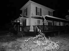 on a dark night (Morganthorn) Tags: halloween haunted house spooky creepy skeleton spider ghost ghoul zombie horror