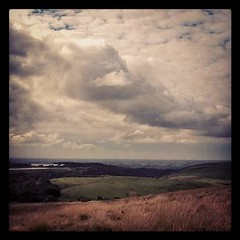 Looking at Lancaster from Harrisend fell (helenmamwell) Tags: clouds storm hills storms heather hillside