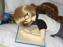 Reading Interrupted 002 (EmpathicMonkey) Tags: bjd bluefairy olive toby happy monkey photo story ball jointed dolls toys