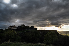 Sunset over Stirling castle (Paul-Emile Grisard) Tags: scotland uk united kingdom sunset amazing stunning castle stirling sky dramatic shot moment nikon sun brightness light last sunday tree cloud cloudy wall grass hill blue dark gloomy landscape walk path alone monument