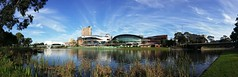 River Torrens panorama, 8.8.2016 (Adriano_of_Adelaide) Tags: adelaide cbd centralbusinessdistrict afternoon winter city riverbank rivertorrens panorama cityofadelaide torrenslake reeds grass morphettstreetbridge ripples buildings intercontinentalhotel outdoor waterfront water gum gumtree gumtrees adelaideconventioncentre cranes underconstruction