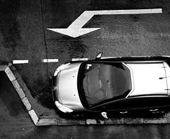 (Jean-Luc Léopoldi) Tags: bw noiretblanc pluie rue mouillé voiture bayonne paysbasque flèche trottoir plongée stationnement parking
