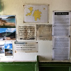 Shack pinboard. West Cove, Erith Island.
