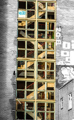 broken stairs and windows contrasts (PDKImages) Tags: pussy clown street sheffield art broken windows cat sloth horror goth abandoned stairs girl beauty love industrial contrasts coffin