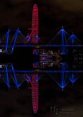 London Eye, Eye (Nigel Jones LRPS) Tags: londoneye london eye ferriswheel riverthames thames reflection inverted mirrored red blue night