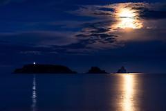 Moonlight versus Lighthouse (vilchesdavid) Tags: moonlight lighthouse sea seascape clouds moon mediterranean medesislands illesmedes catalonia costabrava emporda lestartit luna luzdeluna azul blue nikon d7100 sigma30