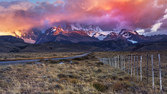 Road to El Chalten (Argentina) (beaugraph) Tags: elchalten patagonia fence sunrise landscape argentina colour clouds cerrotorres mtfitzroy