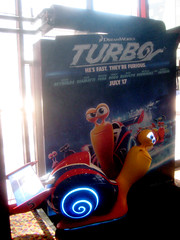 Turbo Racing Snail Light Up Standee 1770 (Brechtbug) Tags: street new york city nyc blue light holiday film computer movie poster spring theater neon theatre character cartoon decoration snail racing billboard lobby turbo ornament ornaments 25 empire animation amc 42nd standee standees 2013 06152013