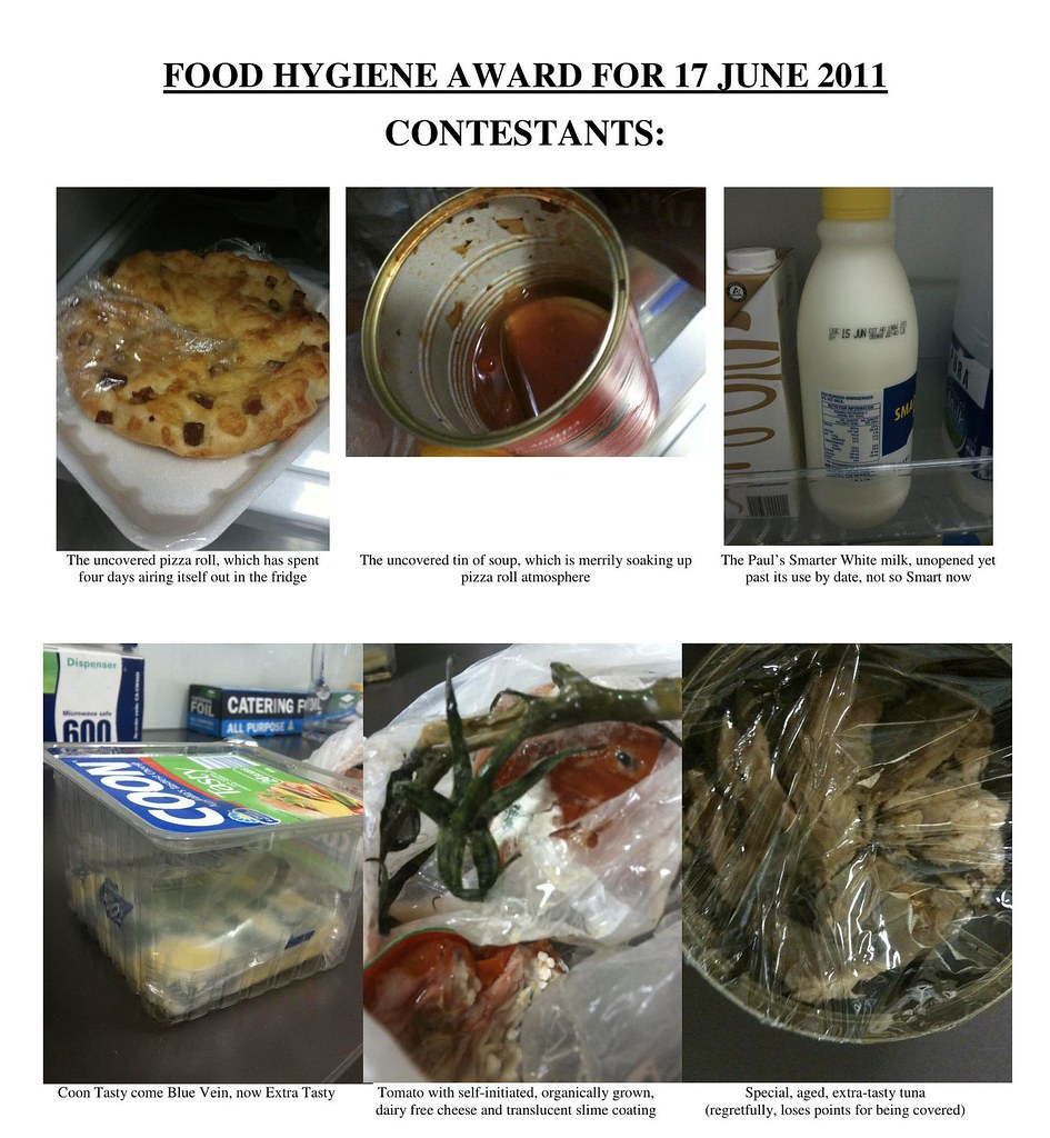 Food Hygiene Award Contestants: The pizza roll? The soup? The milk? The cheese? The tomato? The tuna?