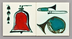 Tiles by Ann Wynn Reeves, Bell and Brass (robmcrorie) Tags: bells tile ceramic french design bell pot musical clark ann pottery trombone wax horn wynn instruments kenneth lewes resist reeves 1959
