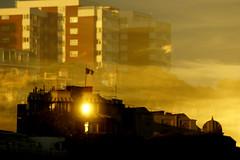 Reflective vision on Bournemouth Pier! (SteveJM2009) Tags: uk light sunset sun colour reflection window glass gold golden evening pier panel september flats vision dorset conference bournemouth towerblock bic westcliff stevemaskell eastcliff 2013 bournemouthinternationalcentre