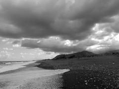 It was summer (_EdG_) Tags: sea blackandwhite bw storm clouds seaside sand day cloudy sicily sicilia campofelicediroccella