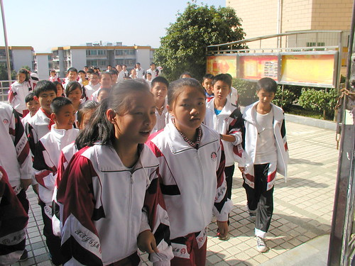 after morning mass exercise outside, Oct 2013, Guiyang American Canadian International School