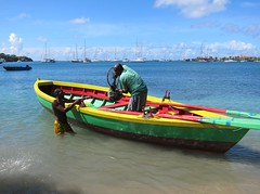 Grenada Fishing Boat (Heaven`s Gate (John)) Tags: blue sea fish green beach water boat fishing grenada rowing catch caribbean lanceauxepines 10faves johndalkin heavensgatejohn pricklybay thecalabash