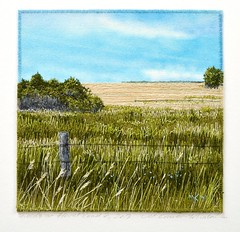 Floral Road 2, 2013  Commissioned (My Sweet Prairie - Monika Kinner) Tags: canada art thread painting landscape landscapes hand embroidery sewing fineart fine craft textile stitching grasses prairie fiber handstitched fibre threadpainting monikakinnerwhalen
