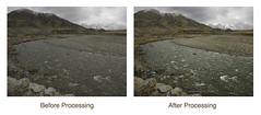 Mountain Stream. Before/After. (birdcloud1) Tags: newzealand mountain water photoshop canon river stream otago beforeandafter postprocessing ahuriri newzealandlandscapes sx10is canonpowershotsx10is amandakeogh amandakeoghphotography birdcloud1