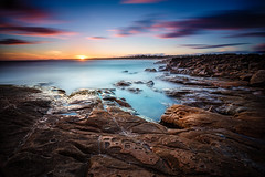 Crowdy Head (artjom83) Tags: ocean longexposure sunset sea sky beach nature water colors fog clouds sunrise canon landscape coast rocks waves pacific head tide australia cliffs clear nsw eastcoast crowdy 2013 sunsetdusk can
