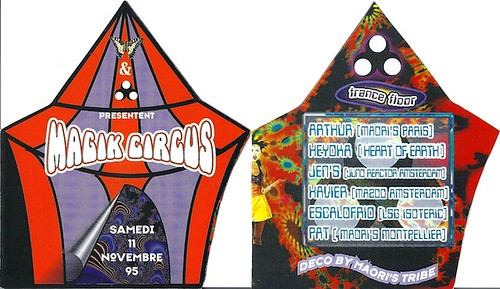 "Patrice Heyoka - Flyer 11/11/1995 - Maoris & Chrysalid ""Magick Circus"" <a style=""margin-left:10px; font-size:0.8em;"" href=""http://www.flickr.com/photos/110110699@N03/11328956545/"" target=""_blank"">@flickr</a>"