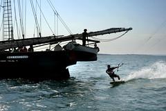 Kite Surfing by Shenandoah (Massachusetts Office of Travel & Tourism) Tags: ocean summer ma island sailing ship capecod massachusetts kitesurfing marthasvineyard shenandoah blackdogships schoonershenandoah