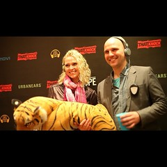 #Throwback from last year's #SXSW @Urbanears #silentdisco - #SilentStorm's Sarah and George with @heysebastian // @junglesass
