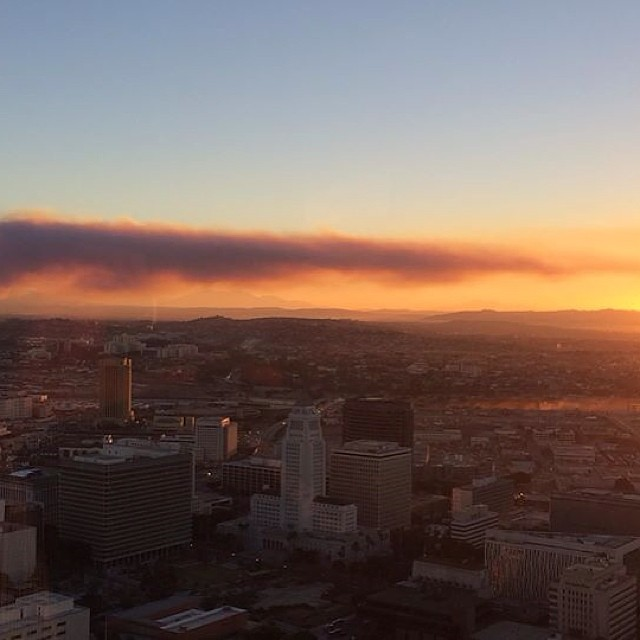 The Colby Fire above Azusa from the 53rd floor of a high rise in downtown LA