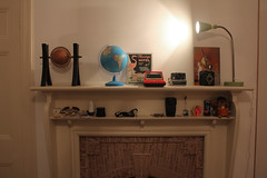 30/365 (lucyphotography) Tags: camera game cute fire globe bedroom fireplace place room shelf
