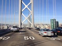 Reachin SF (wbaiv) Tags: sf bridge vw island oakland bay back am san francisco driving north gray riding again commute there yerba passat fromcar 830 buena 580 outwindow 715