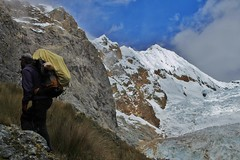 Climbing to Siula Punta.