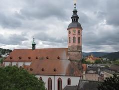 Kirche in der Oberstadt (Anjalie157) Tags: bume baum wege laternen wandelhalle grnes kurpark kastanienblten bbaden