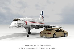 Arospatiale-BAC Concorde (1969) and Chrysler Concorde (1998) (lego911) Tags: auto usa france 1969 car america plane airplane model lego render aircraft sonic aeroplane boom airline concorde sound barrier british passenger ba chrysler airways amc challenge fwd airliner lhs cad 79 lugnuts bac povray supersonic moc ldd aeronautical miniland arospatiale anglofrench lego911 lugnutsgoeswingnuts