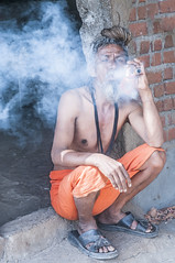 The Sadhu who smokes too much! (Anoop Negi) Tags: portrait india