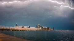 Lightning up the sky (PeteTsai) Tags: chicago storm tower weather fog skyline clouds photo nikon cityscape image sears adler center fisheye photograph planetarium hancock nikkor 16mm prudential willis derecho d800e