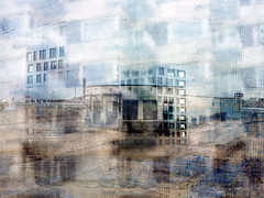 blokken (roberke) Tags: digitalart artistic creation creative photomontage photoshop layers lagen textures textuur surreal samengesteldbeeld buildings tower fantasy droombeeld windows ramen