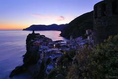 Vernazza at dusk (tomosang R32m) Tags: night yakei  blue bluemoment cinqueterre  liguria   italia italy laspezia   vernazza  canon eos 6d coast dusk