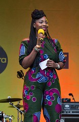 Esther Alade, Africa on the Square, Trafalgar Square, London, 15 October 2016 (chrisjohnbeckett) Tags: africa trafalgarsquare london londonist timeout portrait blackhistory stage performer canonef135mmf2lusm chrisbeckett people photojournalism global smile estheralade compere