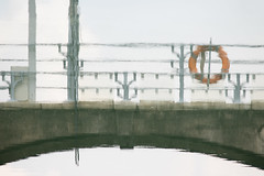 Paint in Water (danliecheng) Tags: abstract arch bridge dreamy lifebuoy painting railing reflection stone vintage water