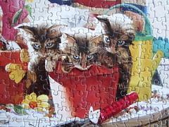 Little Potters / Kleine Grtner (Leonisha) Tags: puzzle jigsawpuzzle kittens ktzchen flowerpot blumentopf