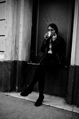_DSC2531 (stimpsonjake) Tags: nikoncoolpixa 185mm streetphotography bucharest romania city candid blackandwhite bw monochrome princess crown youngwoman coffee